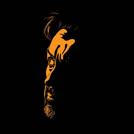 Bearded and whiskered man portrait silhouette in backlight. Contrast face. Vector. Illustration.