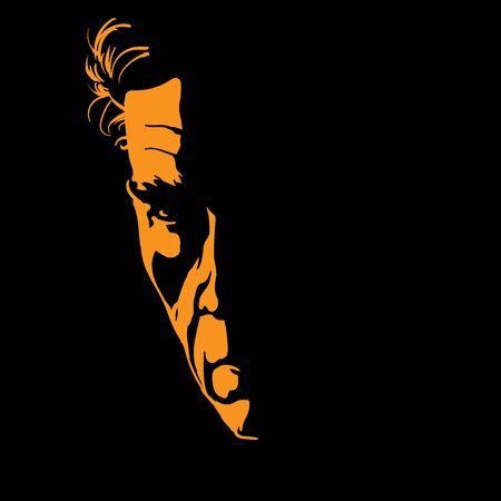 Severe Man portrait silhouette in backlight. Contrast face. Vector. Illustration.
