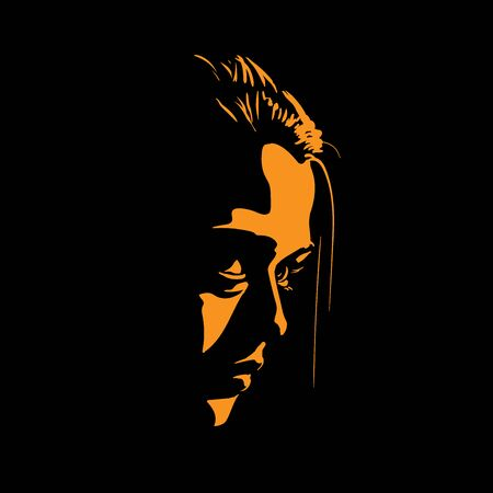 Woman Face silhouette in contrast backlight.