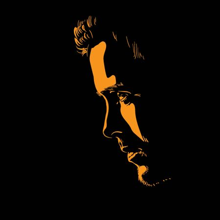 Man portrait silhouette in backlight. Contrast face. Vector. Illustration.