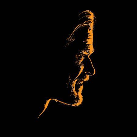Man portrait silhouette in contrast backlight