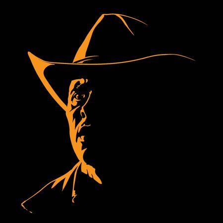 Man with cowboy silhouette in contrast backlight Ilustração