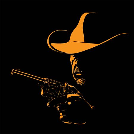 Man with cowboy hat and with a revolver. Vector. Illustration