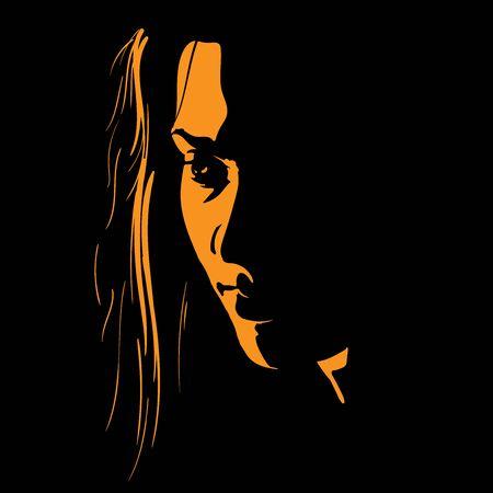 Woman face silhouette in contrast backlight. Ilustração