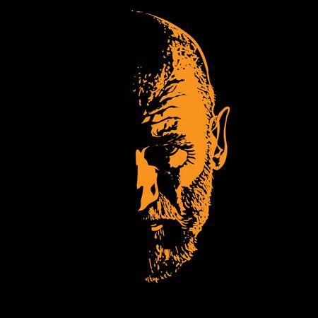 Old Man portrait silhouette in backlight.