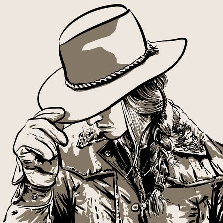 Woman with a cowboy hat. Hand drawn vector