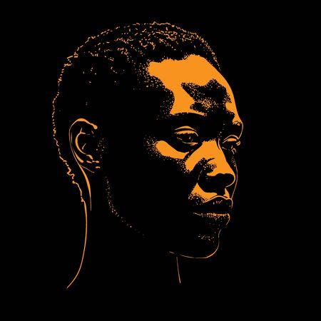 African woman portrait silhouette Vector.