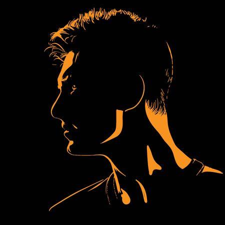 Man portrait silhouette in contrast backlight. Vector.