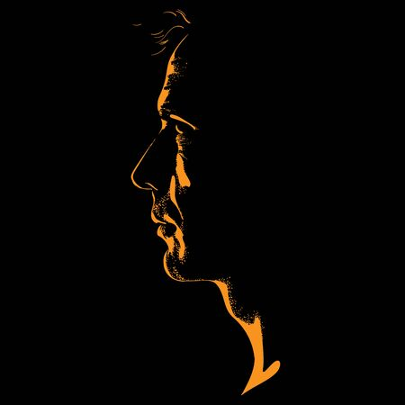 Man portrait silhouette in contrast backlight. Vector. Illustration.