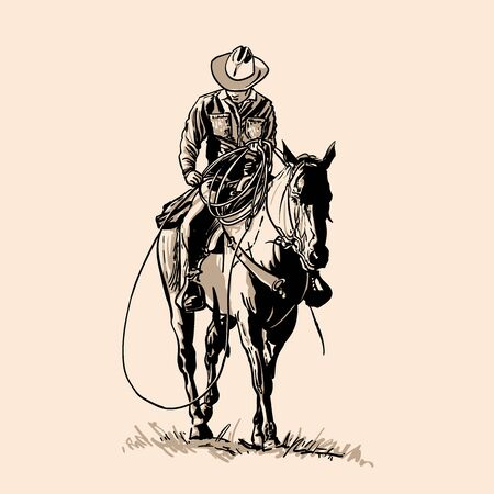 American cowboy riding horse and throwing lasso.