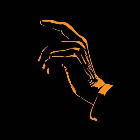Man hand silhouette in backlight. Illustration