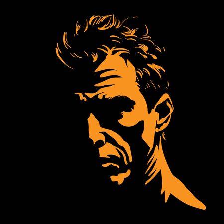 Brutal man portrait silhouette in backlight.