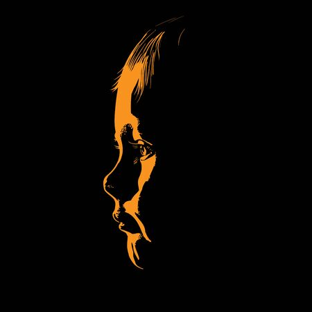 Baby face silhouette in contrast backlight.