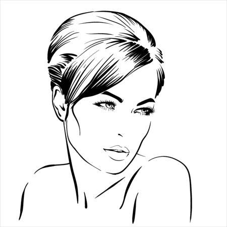 Beautiful brunette girl portrait. Bun hairstyle.