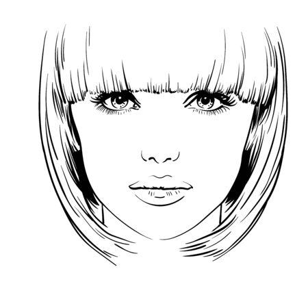 Beautiful girl portrait. Bob hairstyle. Vector.