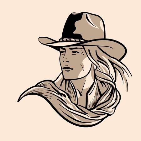 Woman with a cowboy hat. Cowboy girl face Portrait Ilustração