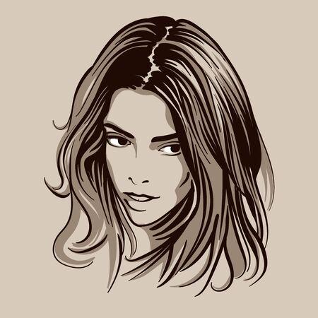 Beautiful brunette girl portrait. Ilustração