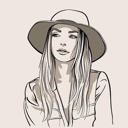 Beautiful girl portrait. Blonde woman with hat. Ilustração