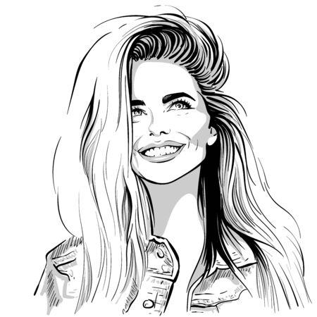 Happy lovely girl smilin Black and white ink style Ilustração