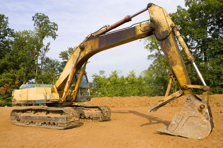 Full view of a Hydraulic excavator from the side Stock Photo - 4190223