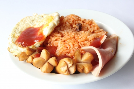 fired egg: Fired rice with egg and bacon