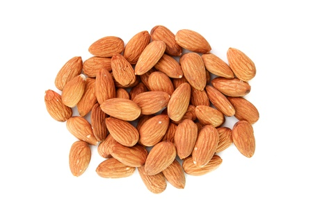 almonds on white backgrond