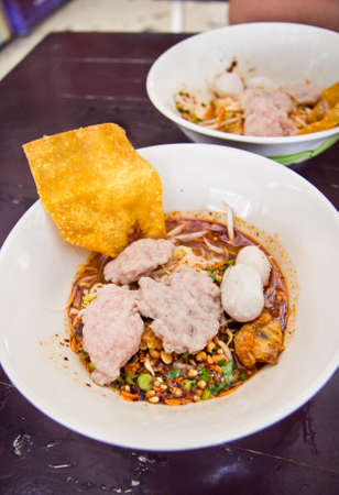 Spicy nooddle with fish ball of Thailand style