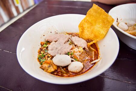 Spicy nooddle with fish ball of Thailand style photo