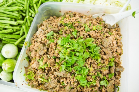 Thai Spicy minced pork salad photo