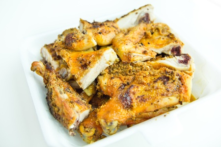 Grilled chicken in take away box. Stock Photo