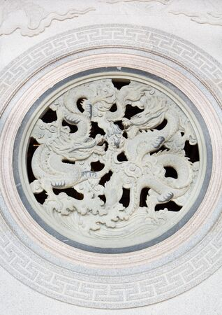 Dragon Sculpture on a chinese temple wall  photo