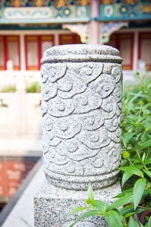 Stone Pole Art in Chinese temple  photo