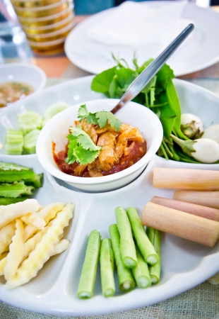 Thai spicy sauce with vetgetable salad