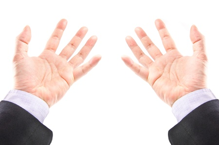 solated: Businessman hand pointing whole fingers solated over on white background.
