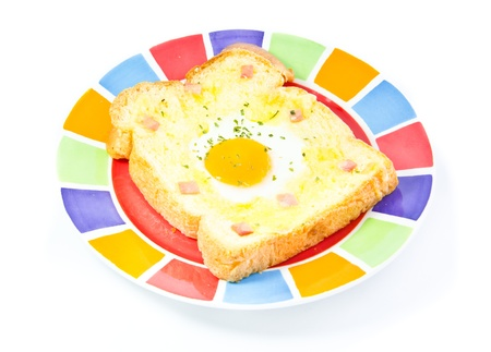 attested: fried egg on bread Stock Photo