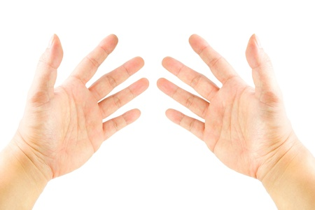 Hand pointing whole fingers on white background. photo
