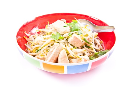 fried bean sprouts mix tofu and pork photo