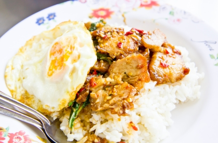 fired egg: spicy pork with fired egg and rice