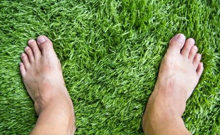 pasto sintetico: de pie en el patrón de hierba verde Foto de archivo