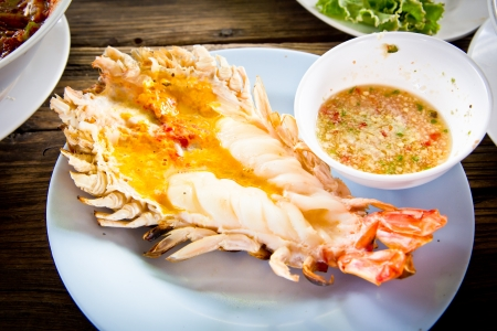 Grilled fresh big shrimp ( Macrobrachium rosenbergii) at Thailand seafood restaurant. photo