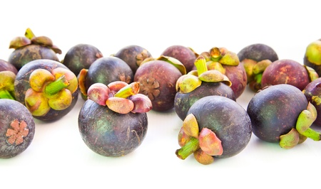 Closeup  Mangosteen Fruits isolated on white background photo
