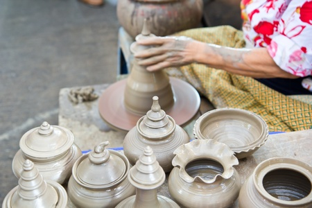 Thailand craftsman working on pottery clay and crafts