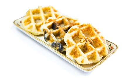 freshly baked waffles on plate