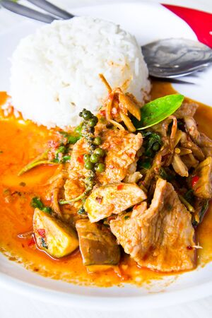 Dried red coconut curry with pork, Thailand food photo