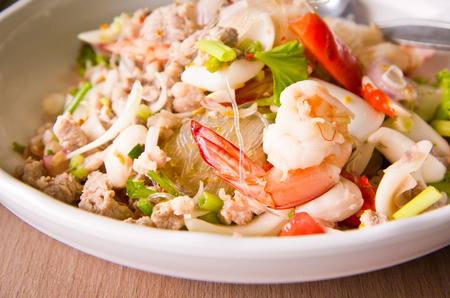 Thailand vermicelli and seafood dress salad