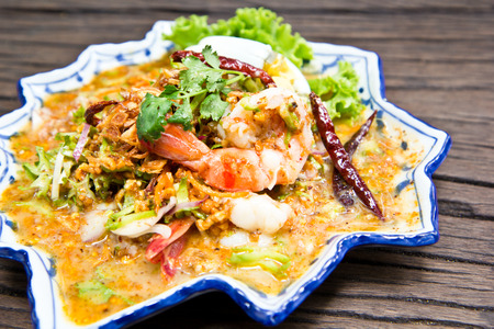 peanut sauce: Thai seafood salad with sweet peanut sauce