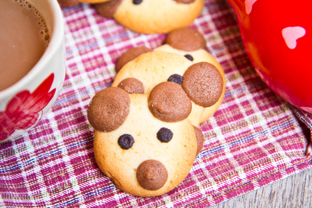 hot chocolate: Hot chocolate with teddy bear cookies breakfast for children