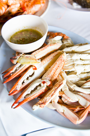 Stream Crabs with spicy sauce on plate Stock Photo