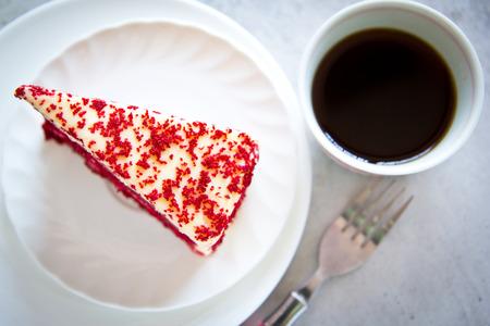 Red Velvet Cake on white plate Stock Photo