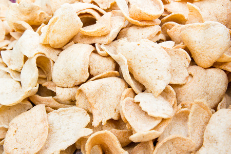 keropok: Prawn Crackers, Oriental fried prawn crisps background